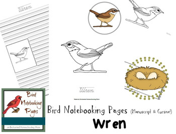 Bird Notebooking Pages Weekly Series Wren Pack