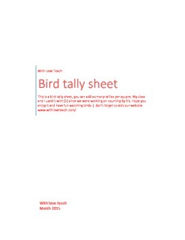 Bird Observation sheet