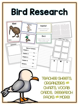 Bird Pack 2 Animal Research Project 18 Types, Vocab Cards, Packet, Book  + More!