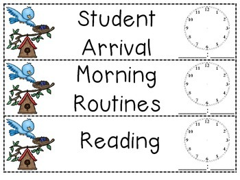 Bird Schedule Cards with Clock