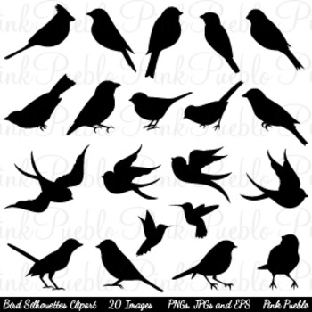 Bird Silhouettes Clip Art - Commercial and Personal Use