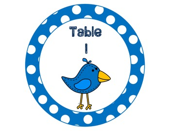 Bird Table/Group Signs For Classroom Decorating