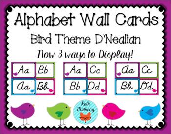 Bird Theme Alphabet Wall Cards with D'Nealian Manuscript & Cursive