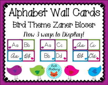 Bird Theme Alphabet Wall Cards with Zaner Bloser Manuscript & Cursive