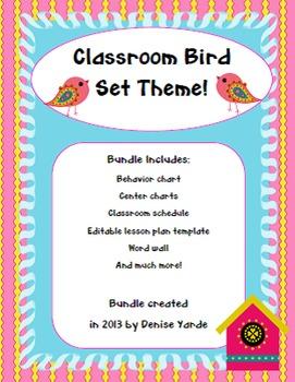 Bird Theme Classroom Decor Set