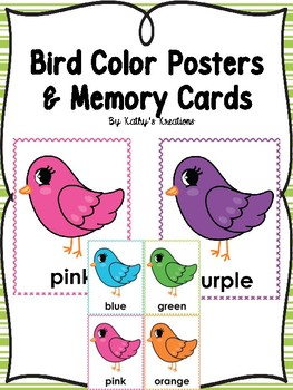 Bird Theme Color Posters & Memory Cards  Dollar Deal