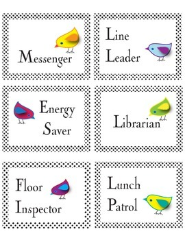 Bird Theme Job Chart