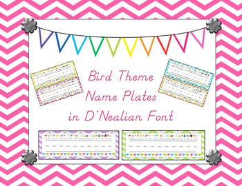 Bird Theme Name Plates in D'nealian Font.