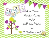 Bird Theme Number Cards with Ten Frame 1-20 in D'Nealian Font