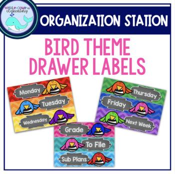 Bird Theme Organizing Drawer Labels