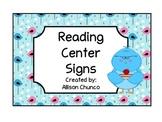 Bird Theme Reading Center Signs