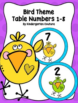 Bird Theme Table Numbers 1-8
