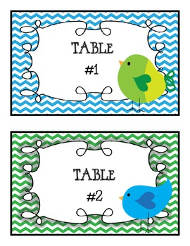 Bird Theme Table Signs