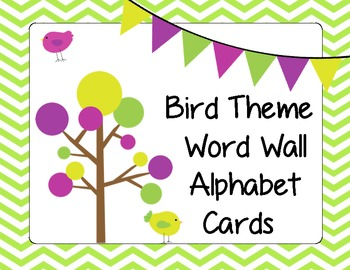 Bird Theme Word Wall Alphabet Cards