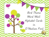 Bird Theme Word Wall Alphabet Cards in D'Nealian Font