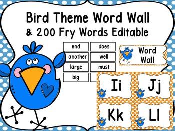 Bird Word Wall Editable