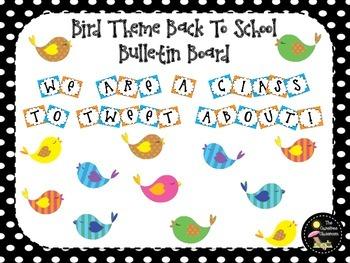 Bulletin Board Set: Bird Themed Back To School Board
