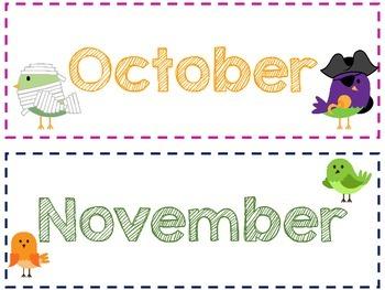 Bird Themed Calendar Headers