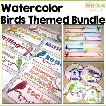 Bird Themed Classroom Decor BUNDLE:   Watercolor Bird Themed