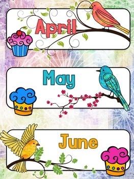 Bird Themed Classroom Decor:  Birthday Display in Watercolor Bird Theme