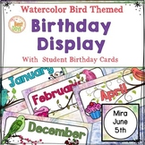 Bird Themed Classroom Decor:  Birthday Display in Watercolor Bird Theme