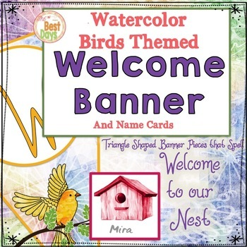 Bird Themed Classroom Decor:   Welcome Banner Watercolor Bird Decor