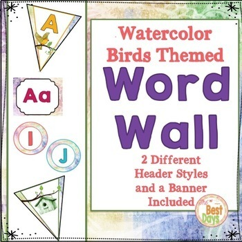 Bird Themed Classroom Decor:  Word Wall Display in Watercolor Bird Theme