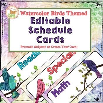 Bird Themed EDITABLE Schedule Cards:  Watercolor Bird Theme