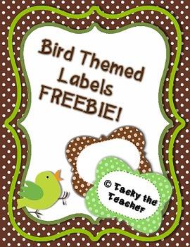 Bird Themed Labels/Green Polka Dot FREEBIE