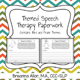 Themed Speech Therapy Paperwork