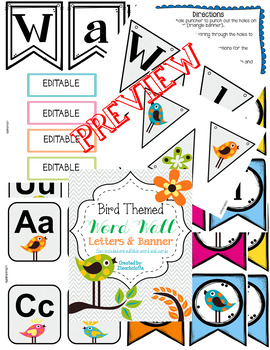 Bird Themed Word Wall Letters and Banner