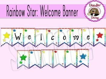 Rainbow Star: 'Welcome' Banner