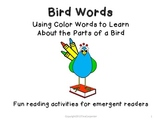 Reading Packet: Using Color Words to Learn about the Parts of a Bird