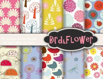 Bird and Flower Digital Paper Tree Flower Lady Bug Bird Scrapbook Paper