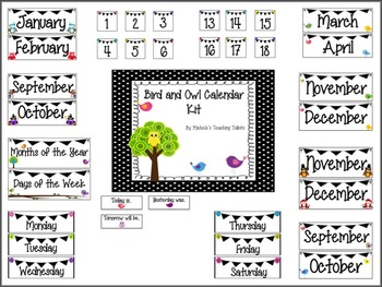 Calendar Set: Bird and Owl Themed