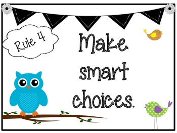 Bird and Owl Themed Classroom Rules