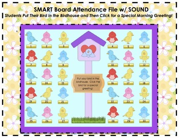 Bird and Spring Themed SMART Board Attendance Activity w/ SOUND