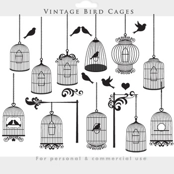 Bird cage clipart - vintage birdcages clip art elegant ornate flourish birds
