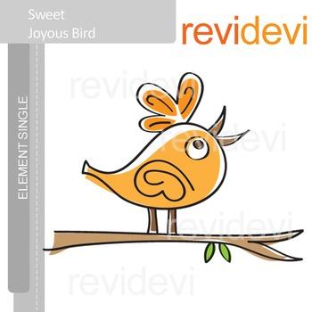 Bird clip art / Sweet Joyous Bird E004