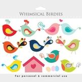Bird clipart - whimsical cute birdies, birdhouse, eggs, sweet, birdy, romantic