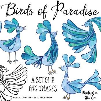 Bird of Paradise Clip Art Set - Blue Watercolor