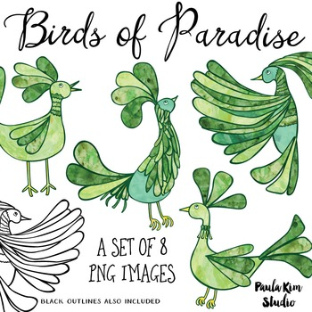 Bird of Paradise Clip Art Set - Green Watercolor