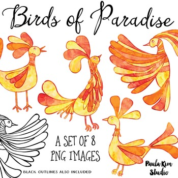 Bird of Paradise Clip Art Set - Orange Watercolor