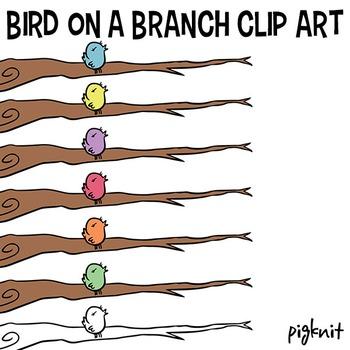 Bird on a Branch Clip Art | Branch Clipart | Bird Branch Border | Blue Bird