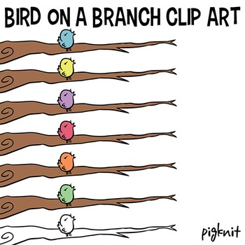 Bird on a Branch Clip Art   Branch Clipart   Bird Branch B