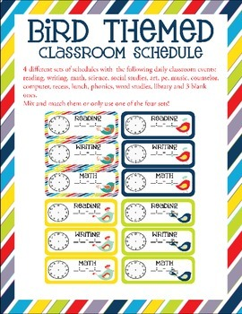 Bird Themed Classroom Schedule