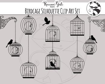 Birdcage Silhouette Clipart Set