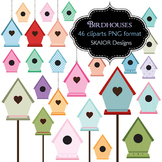 Birdhouse Clip Art Bird House Clipart Garden Shabby Chic Scrapbooking Rainbow