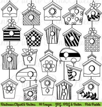 Birdhouse Clipart Clip Art Digital Stamps - Commercial and