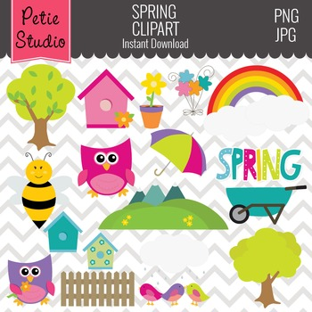 Birdhouse Clipart // Spring Flowers Clipart- Spring109